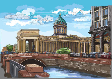 Cityscape of Kazan Cathedral in St. Petersburg, Russia and embankment of river.Colorful vector hand drawing illustration. Illustration