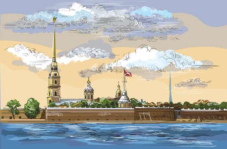 Paisaje urbano de la fortaleza de Peter y Paul en San Petersburgo, Rusia y terraplén del río.Ilustración de dibujo a mano de vector aislado colorido. Ilustración de vector
