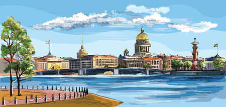 Cityscape of embankment  and bridge across Neva river in St. Petersburg, Russia. View on Spit of Vasilievsky Island and Rostral columns. Colorful isolated vector hand drawing illustration. Фото со стока - 124528313
