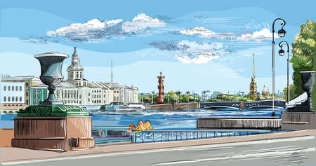 Cityscape of embankment  and bridge across Neva river in St. Petersburg, Russia. View on Spit of Vasilievsky Island and Rostral columns. Colorful isolated vector hand drawing illustration. Иллюстрация