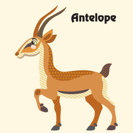 Colorful decorative outline cute antelope standing in profile. Wild animals and birds vector cartoon flat illustration in different colors isolated on beige background.