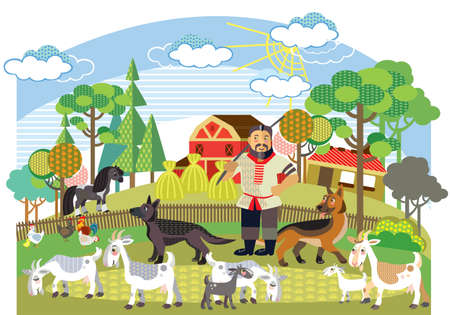 Colorful decorative outline cute farmer with german shepherd herds white goats standing in profile in garden. Farm vector cartoon flat illustration in different colors isolated on white background. Ilustração
