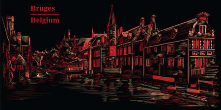 View on Rozenhoedkaai water canal in Bruges, Belgium. Landmark of Belgium. Illustration