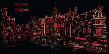View on Rozenhoedkaai water canal in Bruges, Belgium. Landmark of Belgium. Stok Fotoğraf - 127901601