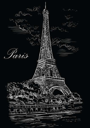 hand drawing Illustration of Eiffel Tower (Paris, France). Landmark of Paris. Cityscape with Eiffel Tower, view on Seine river embankment. Vector hand drawing illustration in white color isolated on black background.
