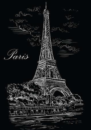 Handzeichnung Illustration des Eiffelturms (Paris, Frankreich). Wahrzeichen von Paris. Stadtbild mit Eiffelturm, Blick auf den Seineufer. Vektorhandzeichnungsillustration in der weißen Farbe lokalisiert auf schwarzem Hintergrund.