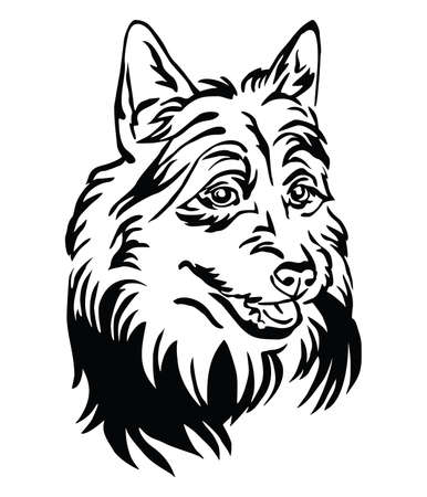 Decorative outline portrait of Dog Australian Terrier, illustration in black color isolated on white background. Image for design and tattoo.