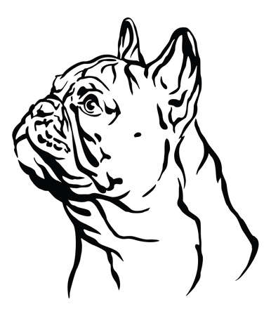 Decorative outline portrait of Dog French Bulldog looking in profile, illustration in black color isolated on white background. Image for design and tattoo.