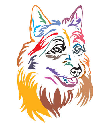 Colorful decorative outline portrait of Australian Terrier Dog, illustration in different colors isolated on white background. Image for design and tattoo. Ilustração