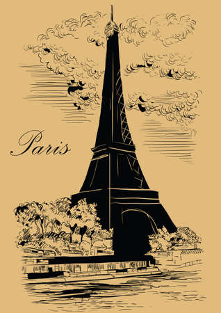 Vector hand drawing Illustration of Eiffel Tower (Paris, France). Landmark of Paris. Cityscape with Eiffel Tower, view on Seine river embankment. Vector hand drawing illustration in black color isolated on beige background.