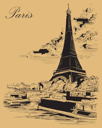 Vektorhandzeichnung Illustration des Eiffelturms (Paris, Frankreich). Wahrzeichen von Paris. Stadtbild mit Eiffelturm, Blick auf den Seineufer. Vektorhandzeichnungsillustration in der schwarzen Farbe lokalisiert auf beigem Hintergrund.