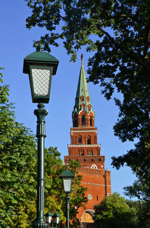 Russia, Moscow, Ancient Tower of Moscow Kremlin. Stock image