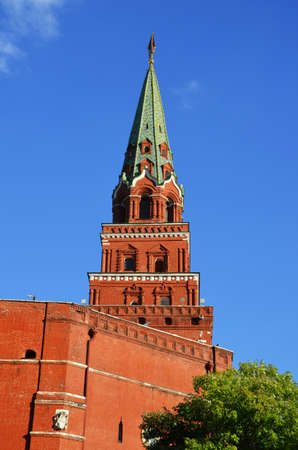 Russia, Moscow, Ancient Tower of Moscow Kremlin.