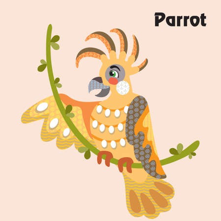 Colorful decorative outline funny colorful parrot sitting on a vine in profile. Wild animals and birds vector cartoon flat illustration in different colors isolated on pink background.