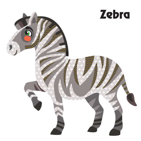 Colorful decorative outline funny colorful zebra standing in profile. Wild animals and birds vector cartoon flat illustration in different colors isolated on wite background.