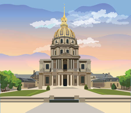Colorful vector Illustration of National Residence of the Invalids, landmark of Paris, France. Colorful vector illustration, cityscape of Paris.