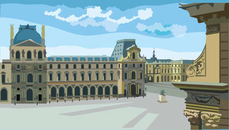 Colorful vector Illustration of Louvre museum, landmark of Paris, France. Cityscape with museum. Colorful vector illustration, cityscape of Paris.