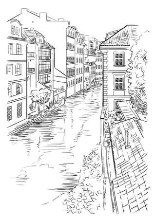 Vector hand drawing Illustration of Certovka Canall in Prague. Landmark of Prague, Czech Republic. Vector illustration in black color isolated on white background.