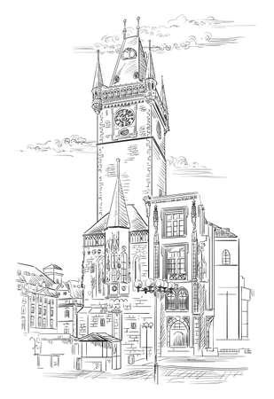 Vector hand drawing Illustration of Old Town Hall in Prague. Landmark of Prague, Czech Republic. Vector illustration in black color isolated on white background.