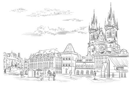 Vector hand drawing Illustration. Cityscape of Old Town Square and Tyn Church. Landmark of Prague, Czech Republic. Vector illustration in black color isolated on white background. Vektorgrafik