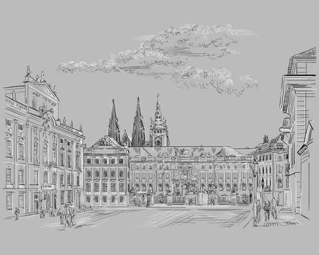 Vector hand drawing Illustration of Hradcany square. The Central gate of the Hradcany Castle. Landmark of Prague, Czech Republic. Vector illustration in black and white color isolated on gray background.