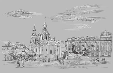 Vector hand drawing Illustration. Cityscape of St. Nicholas church and Jan Hus Memorial. Landmark of Prague, Czech Republic. Vector illustration in black and white colors isolated on gray background. Иллюстрация