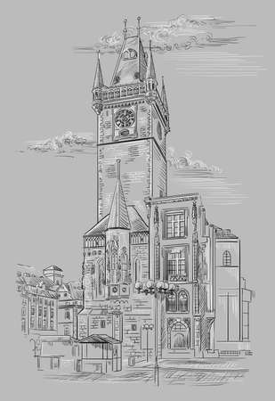 Vector hand drawing Illustration of Old Town Hall in Prague. Landmark of Prague, Czech Republic. Vector illustration in black and white colors isolated on grey background.