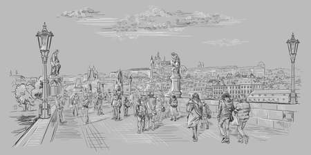 Vector hand drawing Illustration of Charles Bridge and panorama of  Prague. Landmark of Prague, Czech Republic. Vector illustration in black and white colors isolated on grey background.