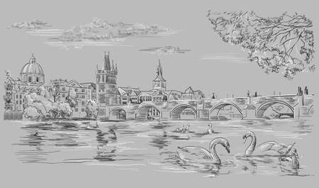 Vector hand drawing Illustration Cityscape of Charles Bridge and swans in Vltava river in Prague. Landmark of Prague, Czech Republic. Vector illustration in black and white colors isolated on grey background.