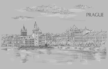 Vector hand drawing Illustration of Prague old city panorama, river Vltava. Landmark of Prague, Czech Republic. Vector illustration in black and white colors isolated on grey background. Иллюстрация