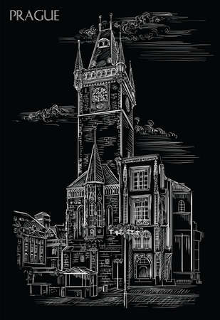 Vector hand drawing Illustration of Old Town Hall in Prague. Landmark of Prague, Czech Republic. Vector illustration in white color isolated on black background. Vectores