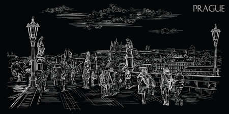 Vector hand drawing Illustration of Charles Bridge and panorama of Prague. Landmark of Prague, Czech Republic. Vector illustration in white color isolated on blsck background.