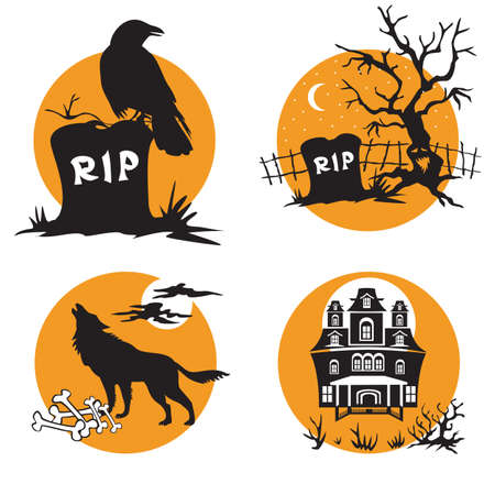 Vector Set for Halloween, four small illustration with characters of Halloween (raven sitting on grave, grave with a scary dead tree, a wolf howls on full moon, a haunted house). Stock image for designe
