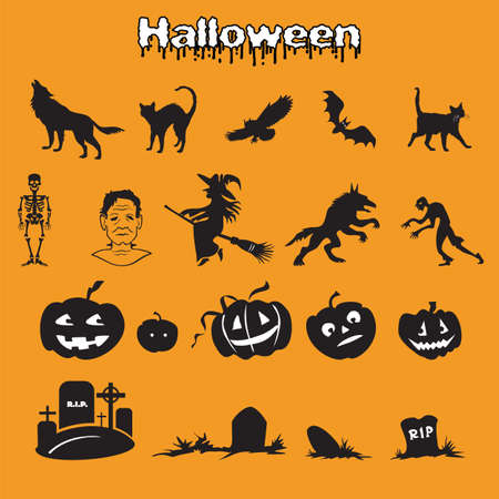Vector set of different Halloween icons silhouette in black color (skeleton, Frankenstein, witch, zombie, werewolf, pumpkins and graves ) on orange background, stock illustration for designe.  イラスト・ベクター素材
