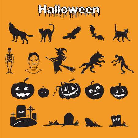 Vector set of different Halloween icons silhouette in black color (skeleton, Frankenstein, witch, zombie, werewolf, pumpkins and graves ) on orange background, stock illustration for designe. Ilustração