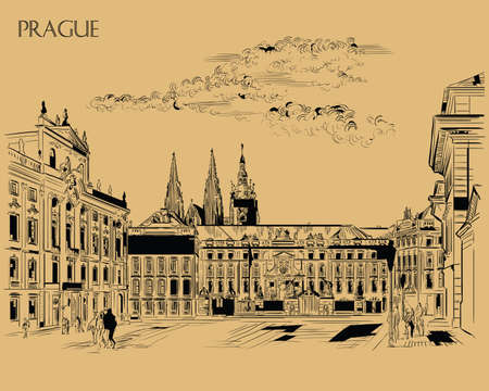 Vector hand drawing Illustration of Hradcany square. The Central gate of the Hradcany Castle. Landmark of Prague, Czech Republic. Vector illustration in black color isolated on brown background.