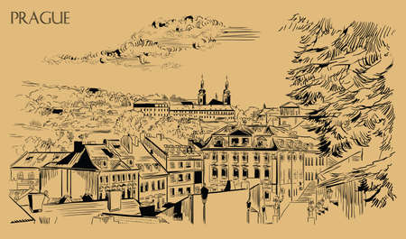 Vector hand drawing Illustration of panoramic cityscape of Prague. Strahov Monastery and roofs of Prague. Landmark of Prague, Czech Republic. Vector illustration in black color isolated on beige background.  Illustration