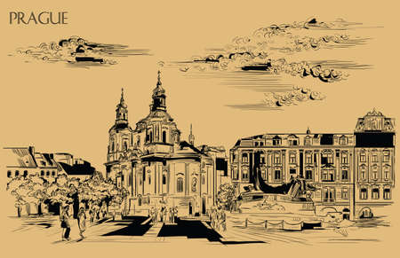 Vector hand drawing Illustration. Cityscape of St. Nicholas church and Jan Hus Memorial.  Landmark of Prague, Czech Republic. Vector illustration in black color isolated on beige background.