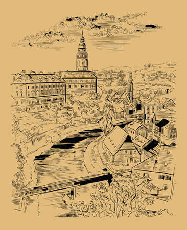 Vector hand drawing Illustration of panoramic cityscape of Cesky Krumlov. Aerial View on roofs, castle and river. Landmark of Czech Republic. Vector illustration in black color isolated on beige background.  向量圖像