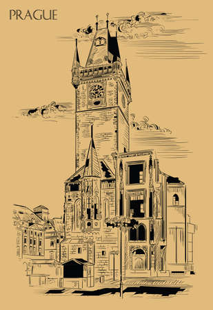 Vector hand drawing Illustration of Old Town Hall in Prague. Landmark of Prague, Czech Republic. Vector illustration in black color isolated on beige background.