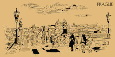Vector hand drawing Illustration of Charles Bridge and panorama of  Prague. Landmark of Prague, Czech Republic. Vector illustration in black color isolated on beige background.