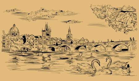 Vector hand drawing Illustration Cityscape of Charles Bridge and swans in Vltava river in Prague. Landmark of Prague, Czech Republic. Vector illustration in black color isolated on beige background.