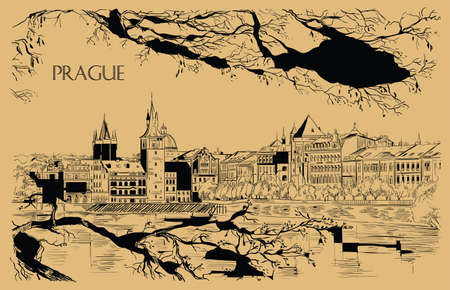 Vector hand drawing Illustration of Prague old city panorama, river Vltava. Landmark of Prague, Czech Republic. Vector illustration in black color isolated on beige background. 向量圖像