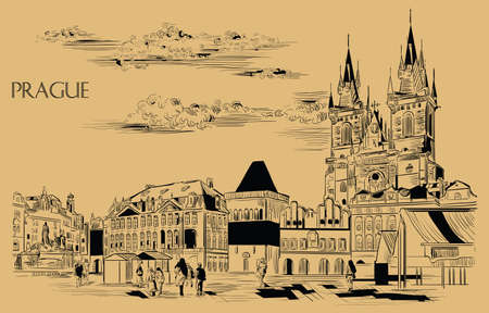 Vector hand drawing Illustration. Cityscape of Old Town Square and Tyn Church.  Landmark of Prague, Czech Republic. Vector illustration in black color isolated on beige background.
