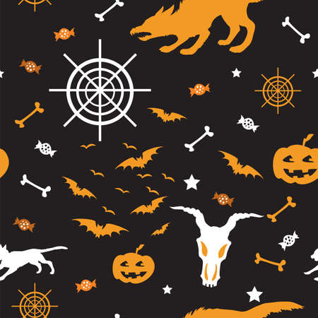Vector seamless pattern with different Halloween icons (bat, skull with hornes, web, werewolf, candy, pumpkin) on black background, stock illustration