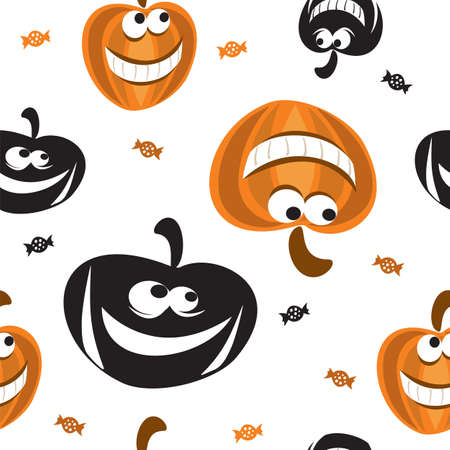 Vector seamless pattern with different  shape Halloween pumpkin in black and orange colors and candy on white background, stock illustration for designe.  イラスト・ベクター素材