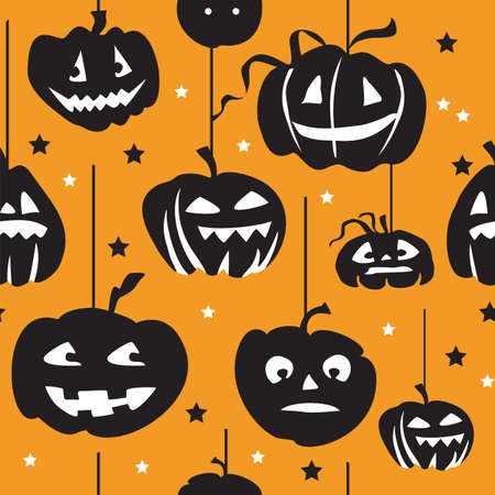 Vector seamless pattern with different  shape hanging Halloween pumpkin in black and white colors on orange background, stock illustration for designe.