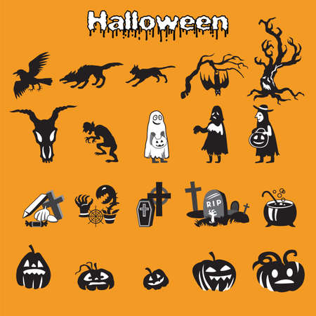 Vector set of different Halloween icons silhouette in black and white colors (scary dead tree, crow, cat, zombie, werewolf, boiler, skull, pumpkins and graves ) on orange background, stock illustratio