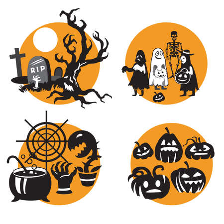 Vector Set for Halloween, four small illustration with characters of Halloween (graves with scary dead tree, children in Halloween costume, cauldron with web and Halloween pumpkins). Stock image for d