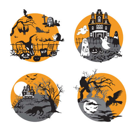 Vector Set for Halloween, four small illustration with characters of Halloween (cemetery, spooky ghost house, dead forest with haunted house and werewolf, terrible forest with crows). Stock image for